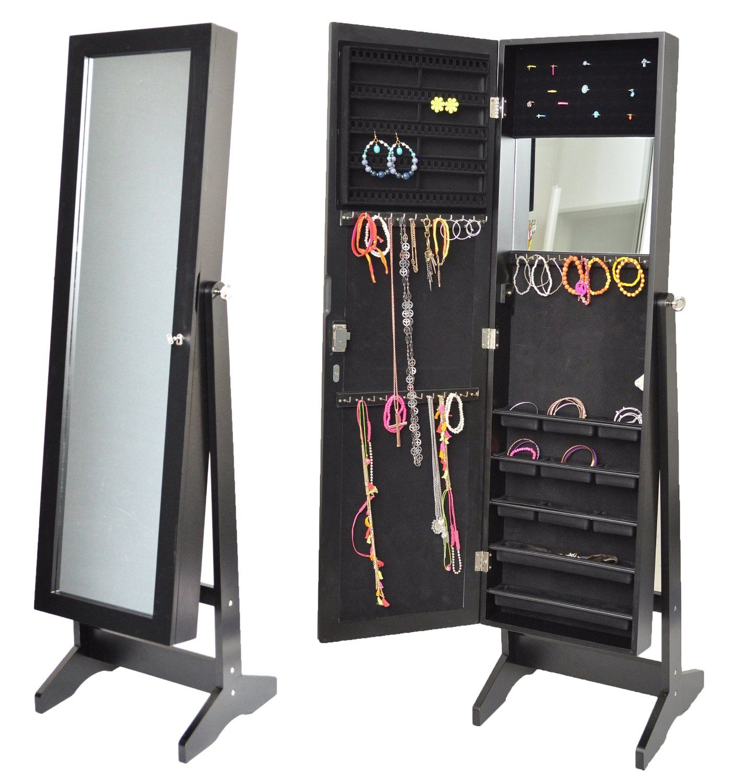 Armoire à bijoux avec miroir 145 cm noir: Amazon.fr: Cuisine ...