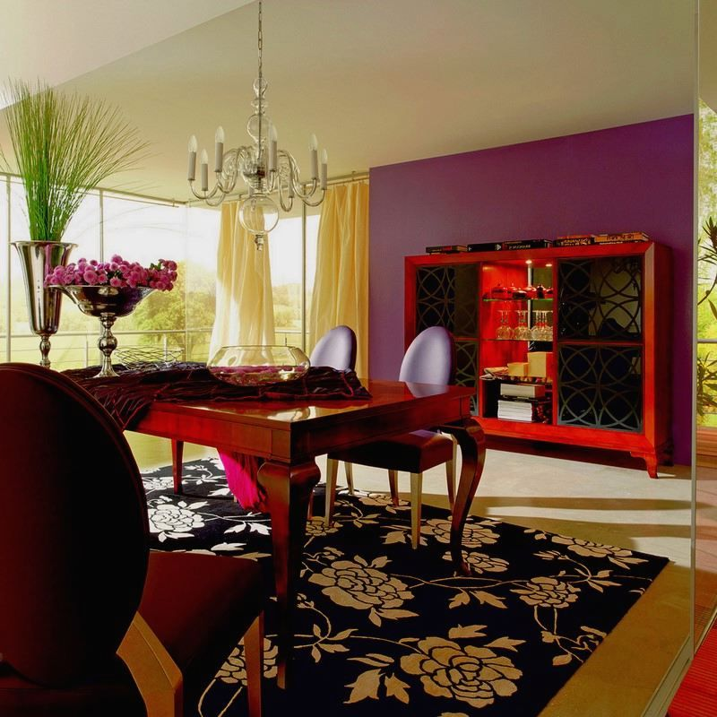 Yellow Curtains Purple Walls Dining Room Design