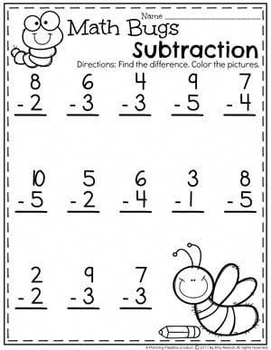 Subtraction Under 10 Worksheets for Kindergarten Math. #