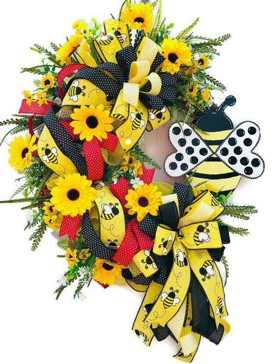 Photo of Summer grapevine wreath with bees, sunflower wreath, front door wreath
