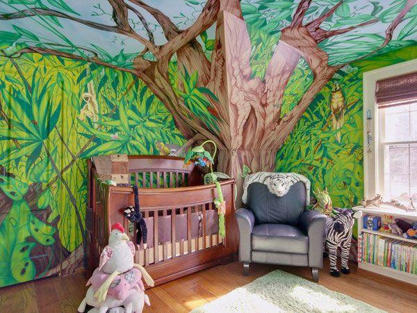 Savannah Jungle Wall Decoration For Kids Rooms: Modern Zoo Theme In Nursery Room  Ideas U2013