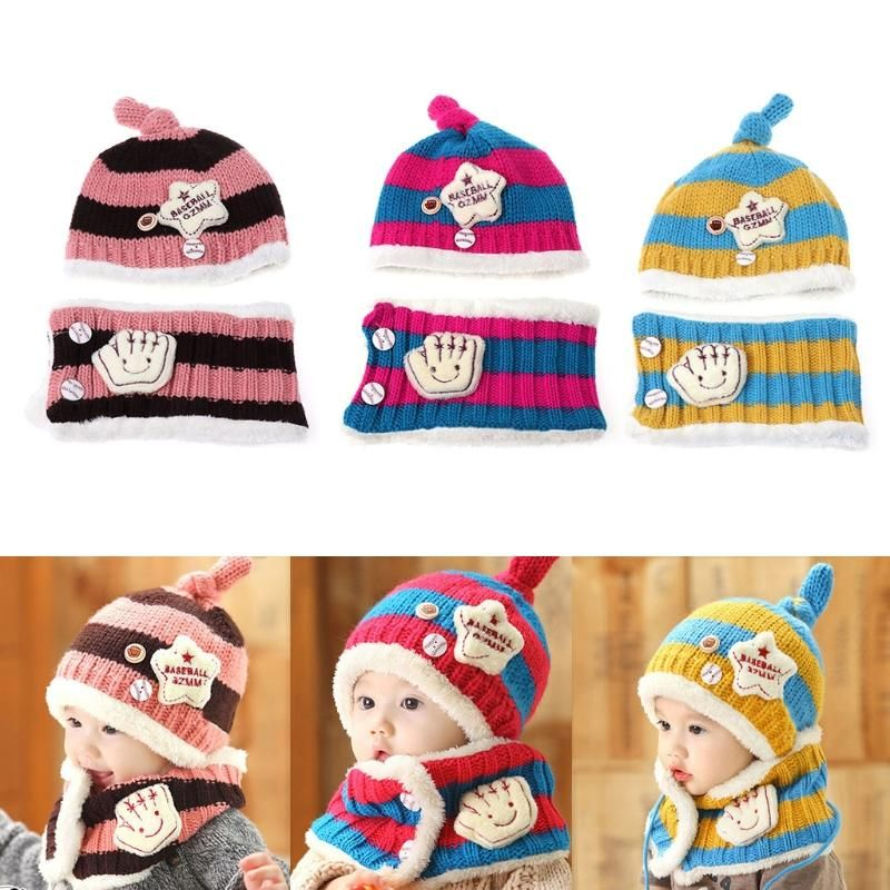 a34f1ab188fb1 Baby Hat With Scarf Toddler Winter Beanie Warm Hat Hooded Scarf Earflap  Knitted Cap Cute Woolen Kids Hat Scarf Set