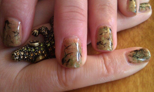 "Petrified   *Like my ""Pretty Pinkies"" page on Facebook for more of my handpainted designs"