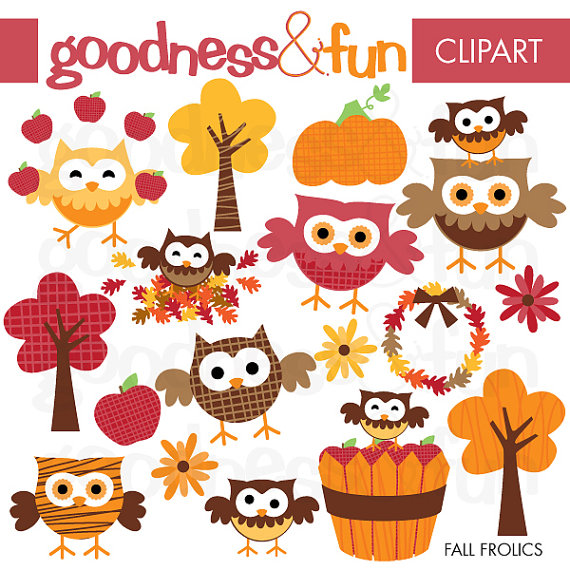 Fall Owl Frolics Digital Owl Clipart Instant by ...