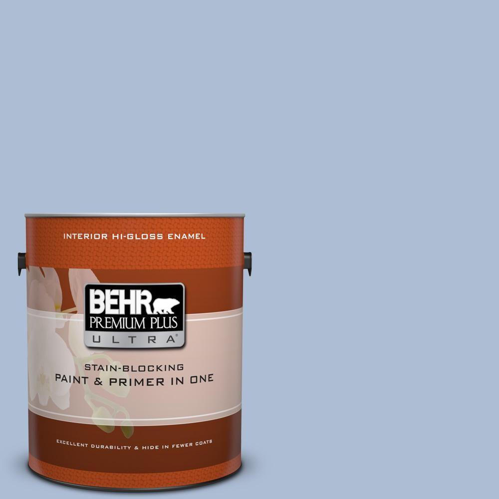 BEHR Premium Plus Ultra 1 Gal. #580E 3 Sweet Blue Hi Gloss Enamel Interior  Paint 875401   The Home Depot
