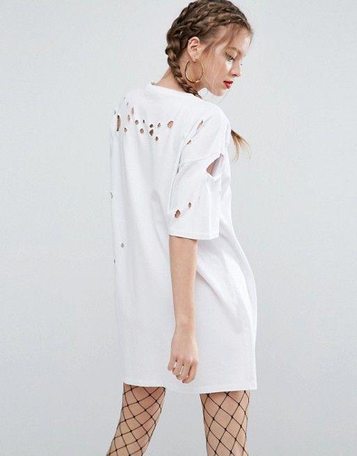 Compra Vestido estilo camiseta desgastado con estampado Exploited de ASOS  en ASOS. Descubre la moda online.