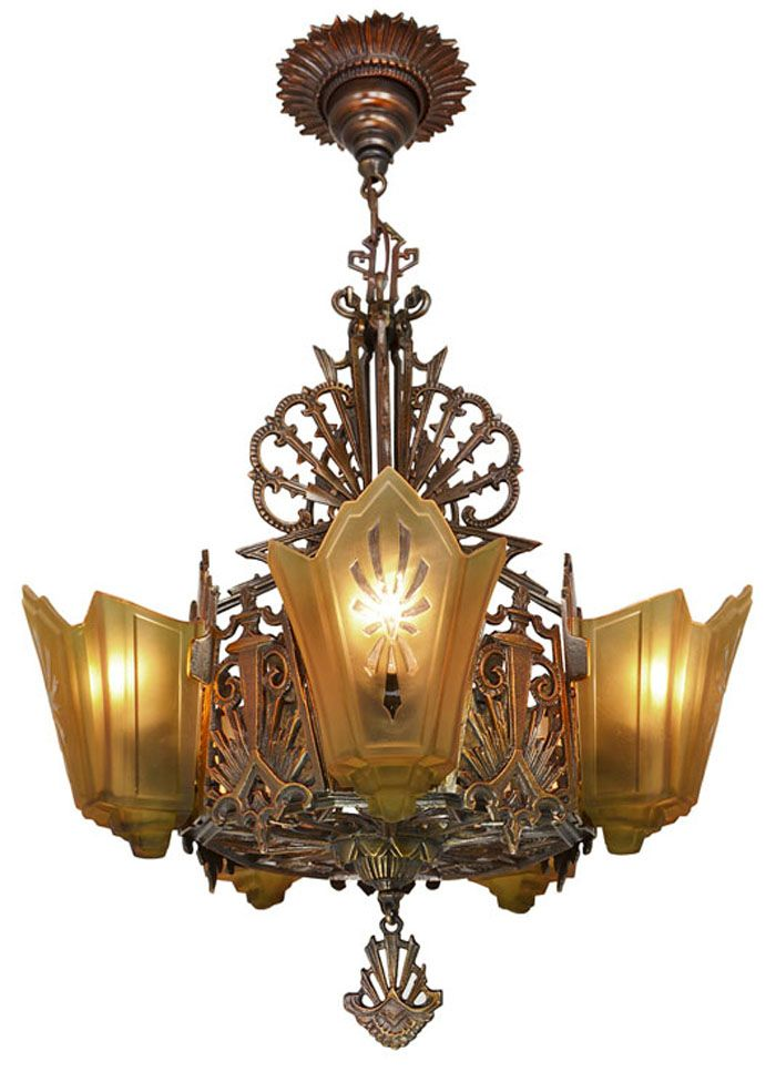 Antique Restore Bronzed Finish Art Deco Slip Shade Chandelier A true high  end quality original antique bronzed finish fixture Circa The bronzed  finish is  Vintage Hardware   Lighting   Antique Lighting  Antique Restore  . Art Deco Lighting Fixtures Chandeliers. Home Design Ideas