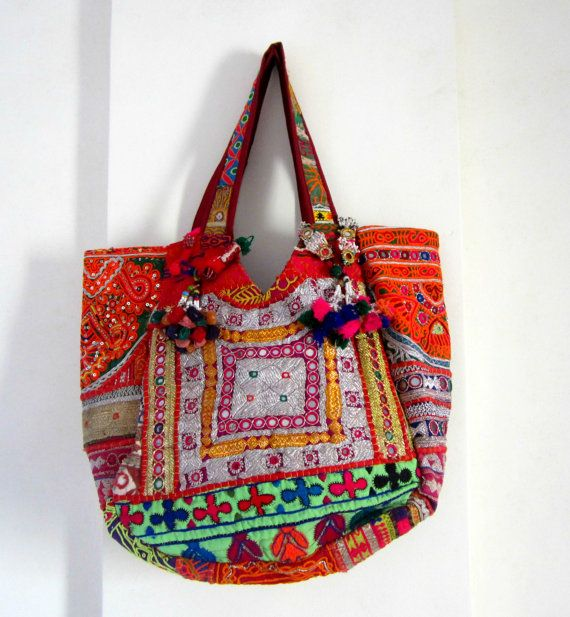 Buy Ethnic Indian Designer  Banjara Bag Patchwork Bag, Tribal Bag, Gypsy Bag, Ethnic Boho, Tote Antique Bags, Authentic handmade large bag by elephantsofindia. Explore more products on http://elephantsofindia.etsy.com
