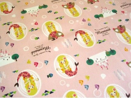 November Books Mermaid(pink)-Japanese cotton fabric for Ooie's blanket.  $42.67 USD for 1 1/2 yards!