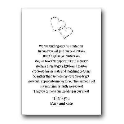 30 Wedding Poem Cards For Your Invitations Invites Money Cash Gift W204 Supplies