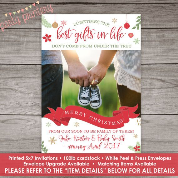 christmas pregnancy announcement cards printed by partyprintery