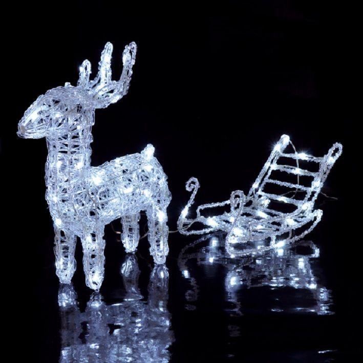 led rentier mit schlitten für außen und innen weihnachten