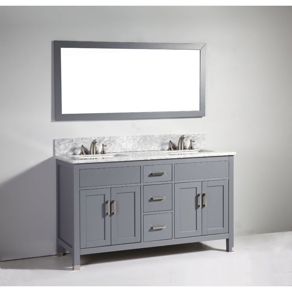 Legion Furniture 60-inch Dark Solid Wood Double Sink Vanity Set with ...