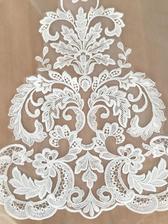 Beautiful venice lace applique in soft white for wedding gown,bridal dress hem, bodices, veils making #whiteembroidery