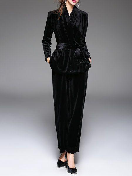 Shop Jumpsuits - Black Velvet Two Piece Long Sleeve Surplice Neck Jumpsuit online. Discover unique designers fashion at StyleWe.com.