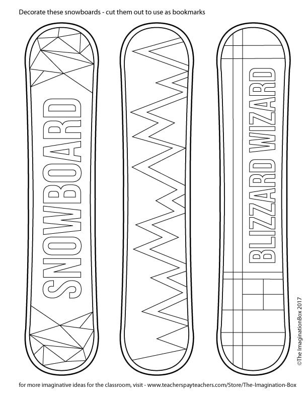 download these free winter sport snowboard bookmarks templates to color in the classroom skate. Black Bedroom Furniture Sets. Home Design Ideas