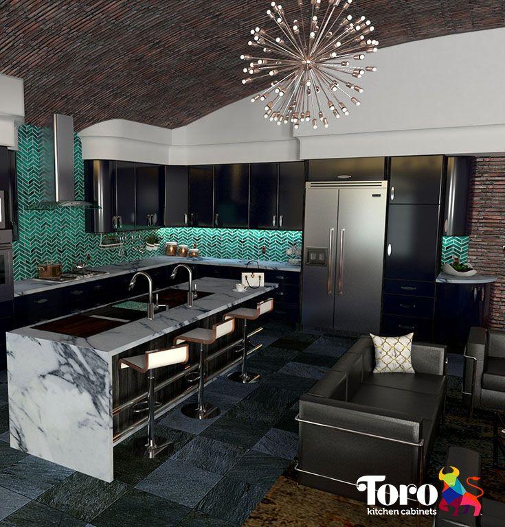 Modern metal kitchen cabinet doors in Bon Voyage (blue.) # ...