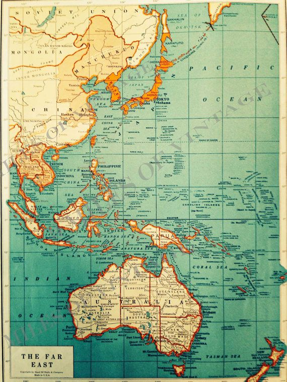 Original Vintage Map of The Far East The Colliers World Atlas and