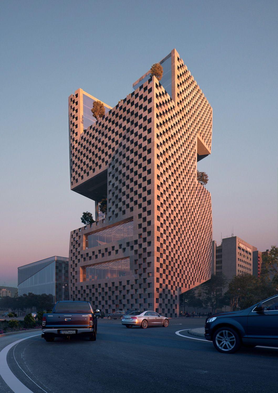 Perforierter Turm - Snøhetta bauen Bank in Beirut