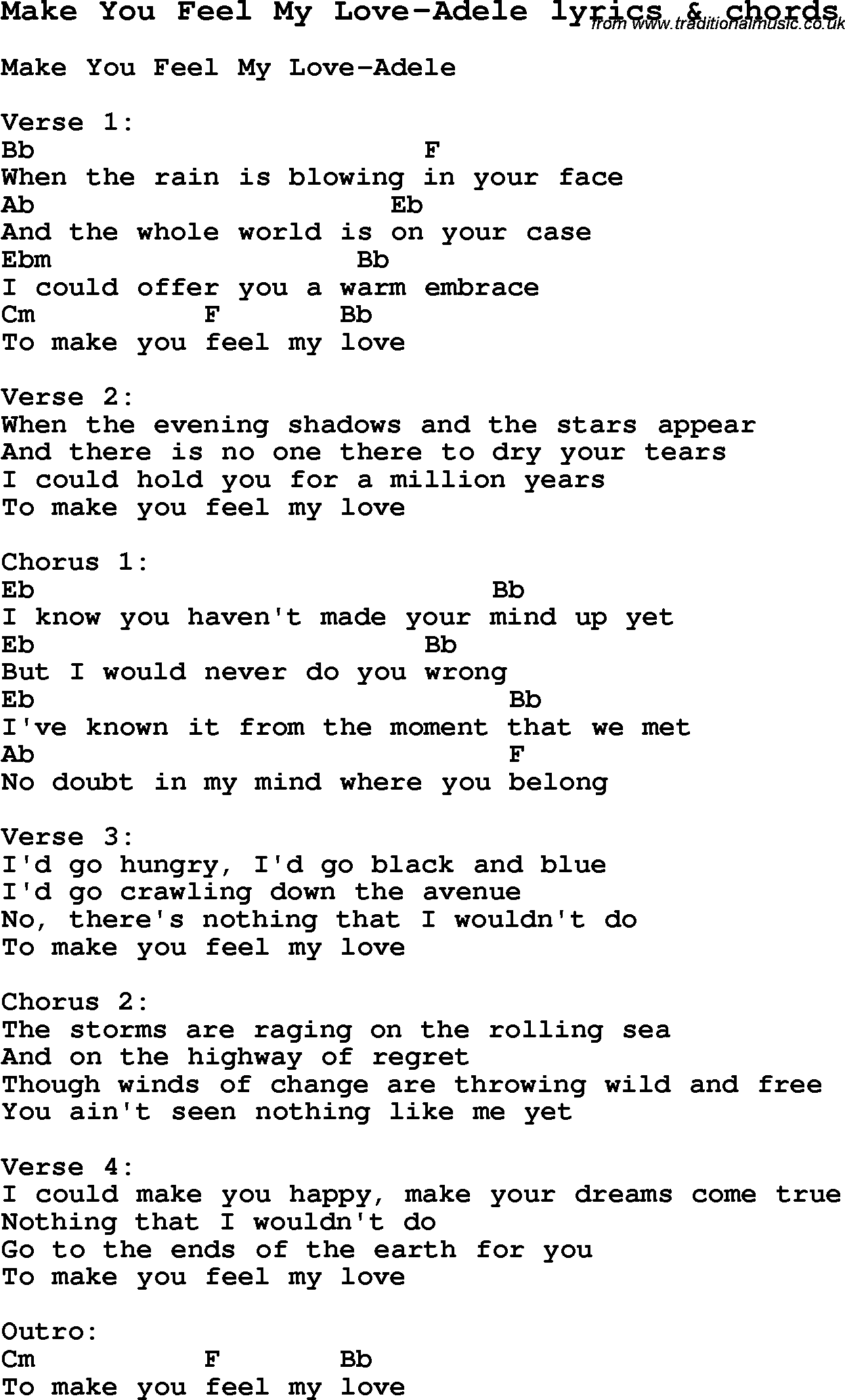 Love Song Lyrics For Make You Feel My Adele With Chords