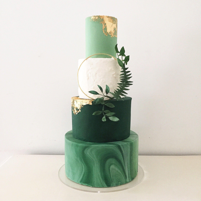 green theme wedding cake