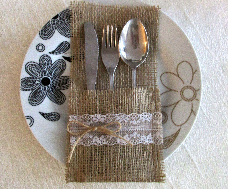 60 80 burlap silverware holders burlap cutlery by - Silverware Holder