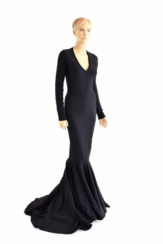 0a26bedfd89 Black Zen Soft Knit Morticia V-Neck Gown with Long Sleeves and ...