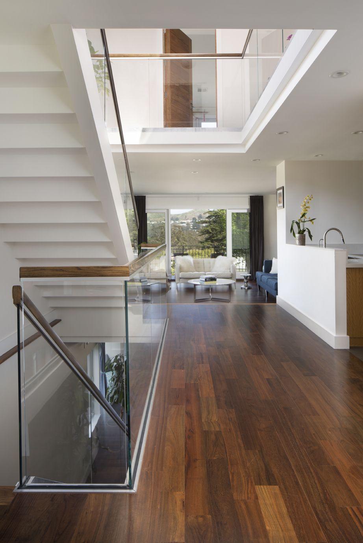 Best Staircase Glass Railing Walnut Flooring Residential 400 x 300