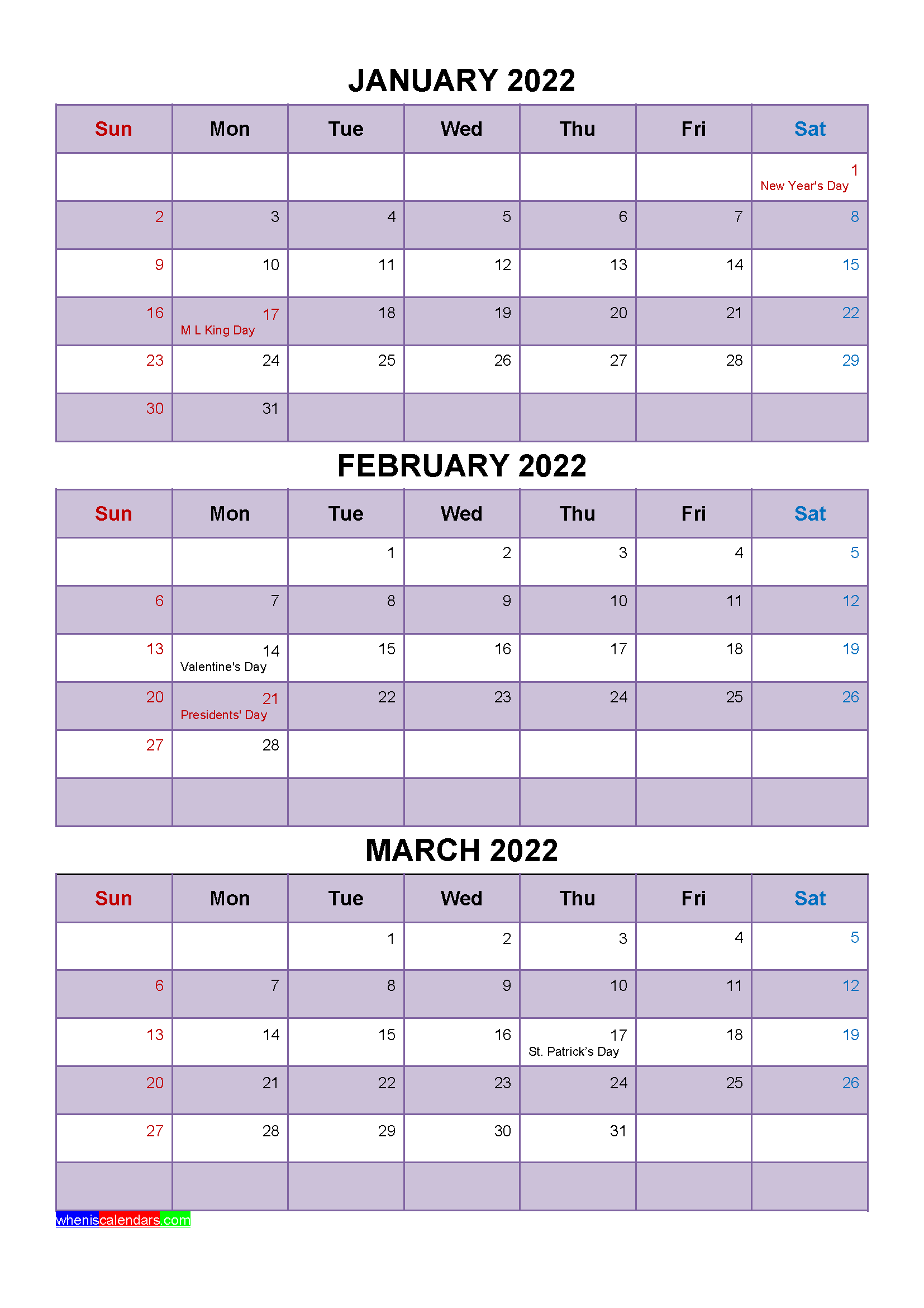 January February March 2022 Calendar with Holidays [Four ...