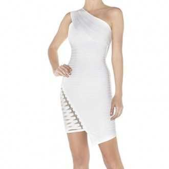 Herve Leger Sale White Maran Metal-Hardware Detailed Dress