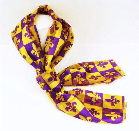 f2429db31 Purple   Gold Satin Stripe Fleur-de-Lis Checkerboard Scarf