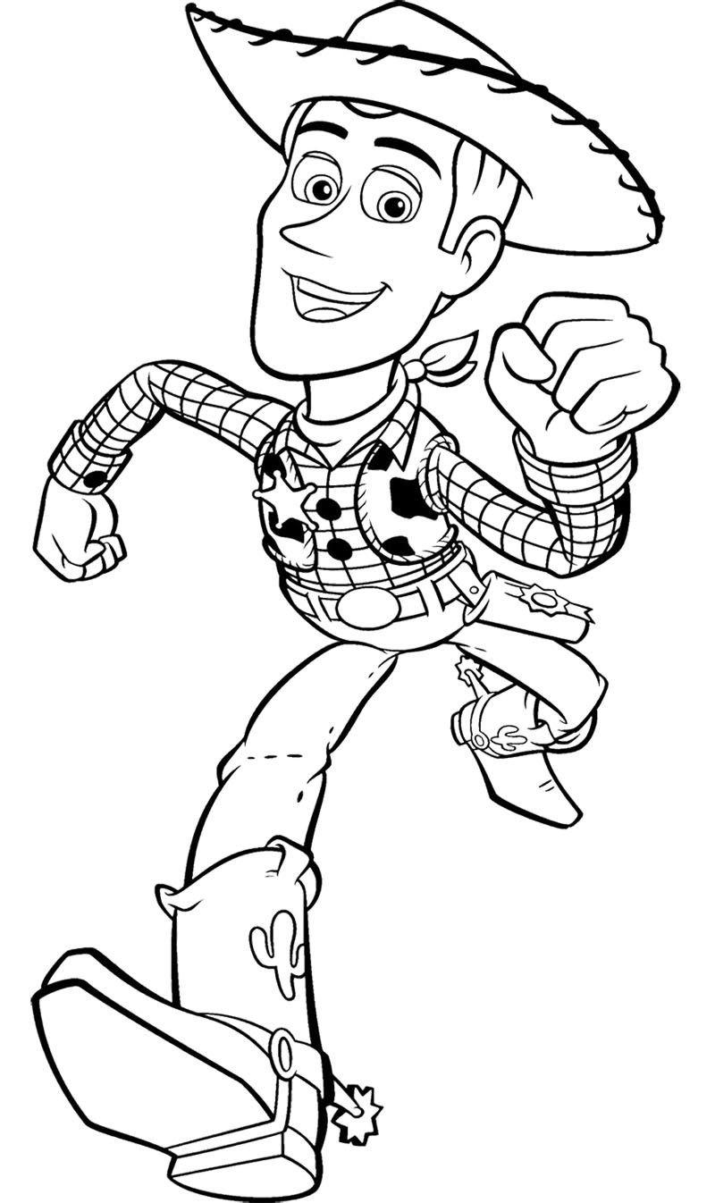 Toy Story Woody Runs Fast Coloring Page Desenhos Colorir