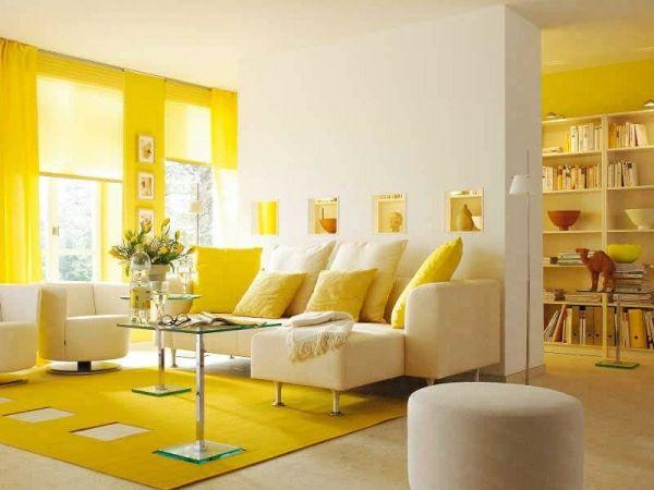 Einrichtungsideen Gelb Wohnzimmer Gardinen Teppich Zitronengelb Design
