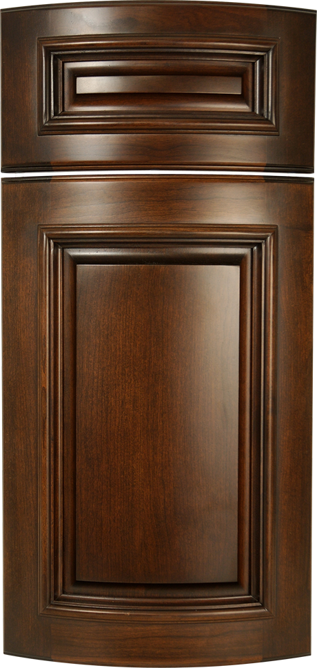 Carlton S549 Design In Natural / Standard Grade Cherry With Java Stain    Applied Molding Curved Cabinet Door Style ...