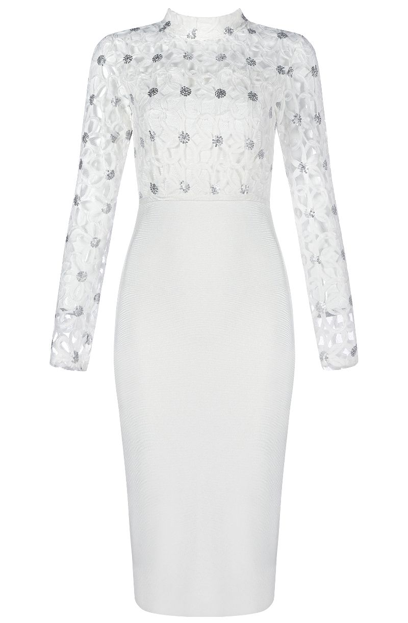 Long sleeve sequin lace midi bandage dress white quần áo