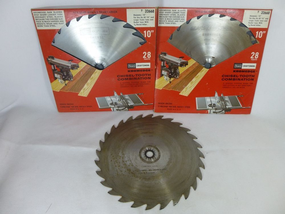 3 Sears Craftsman Kromedge Rip No 9 32668 10 Inch Table Saw Blades Chisel Tooth Craftsman Table Saw Blades 10 Inch Table Saw Sears Craftsman