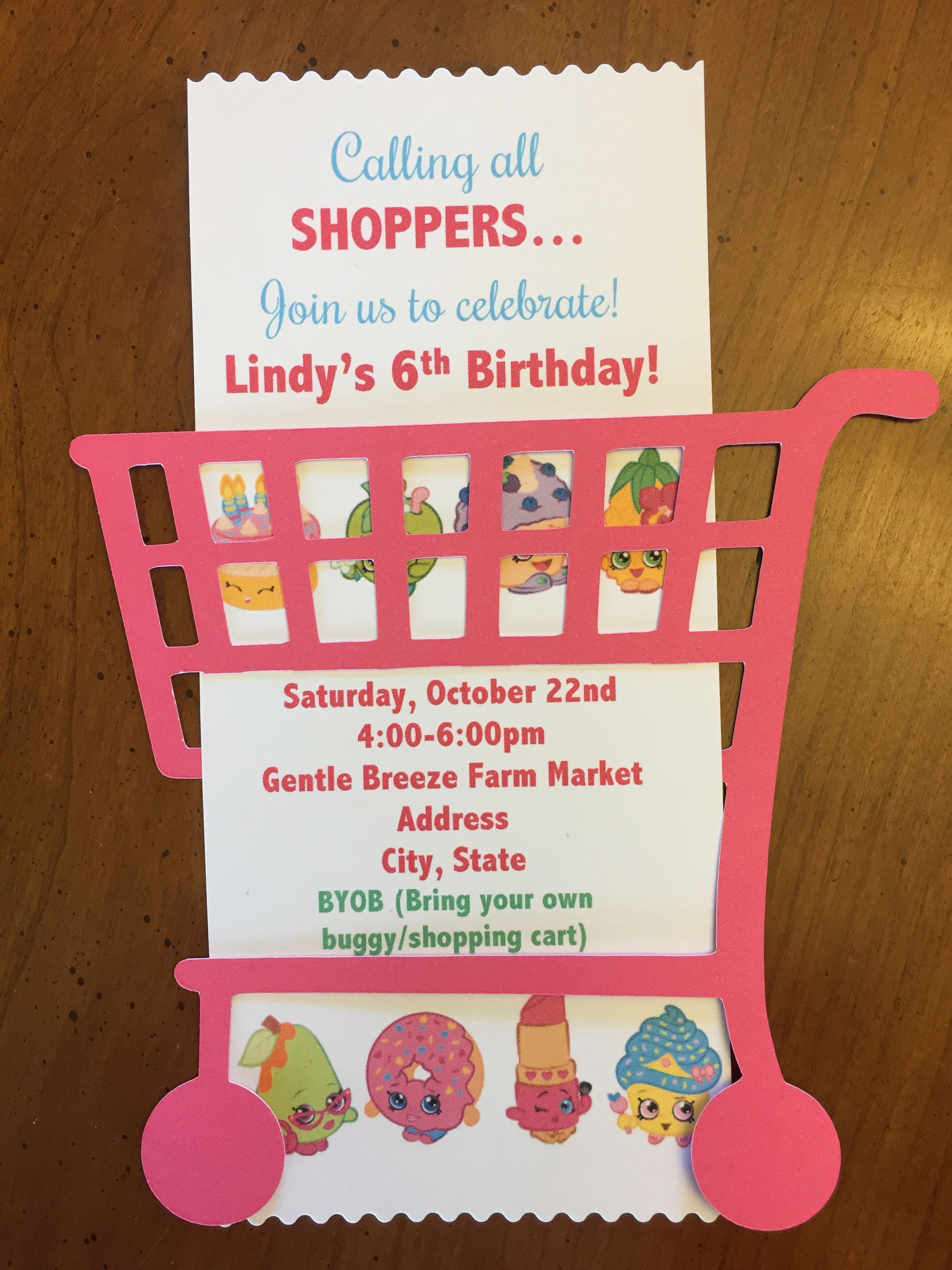 handmade shopkins birthday invitation  cut out shopping
