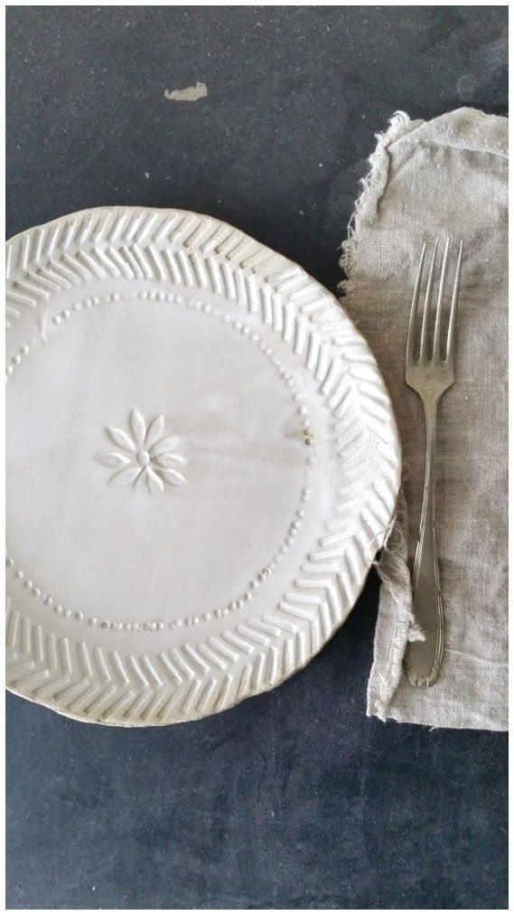 white flat plate, ceramic / stoneware, diameter   / - 21 cm (8 inch) color: white and sand, inside: matt white transparant glaze, outside: unglazed #ModernPotteryIdeas #ModernPottery #PotteryIdeas #Ceramic click now for more.