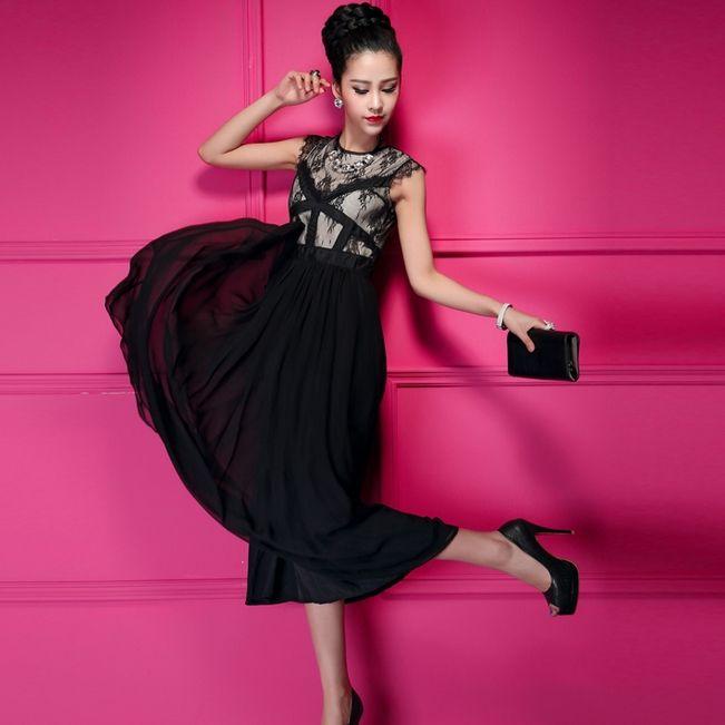 Latest High Waist Sleeveless Patchwork Lace Chiffon Long Prom Dresses US$37.99