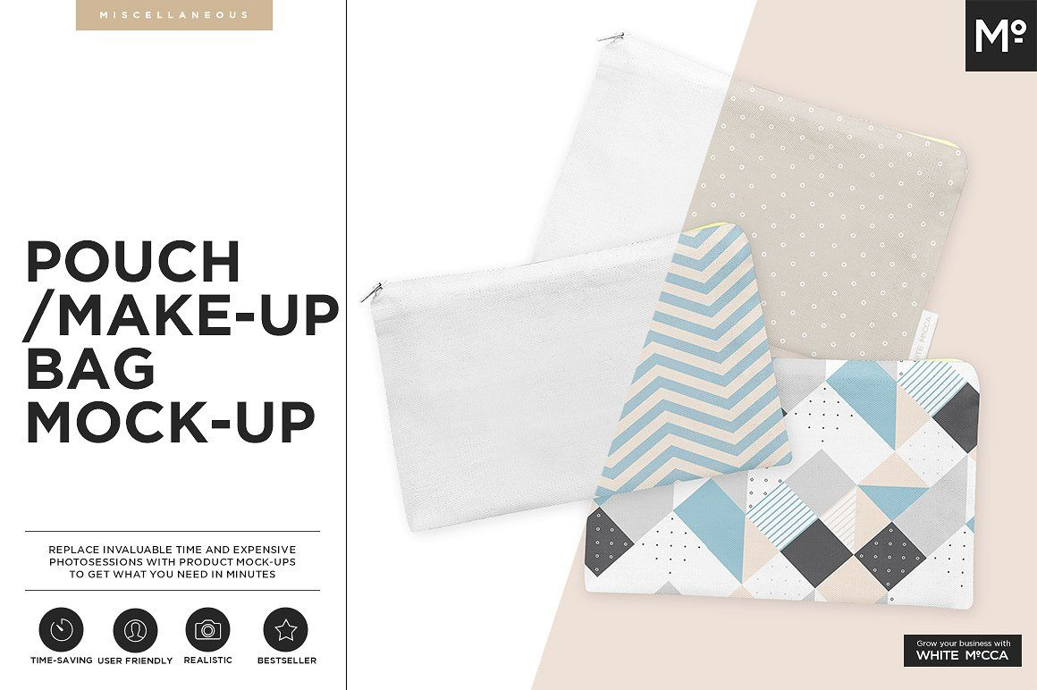 Download The Make Up Bag Mock Up Pouch By Mocca2go Mesmeriseme On Creativemarket Business Card Mock Up Sticker Template Business Card Logo