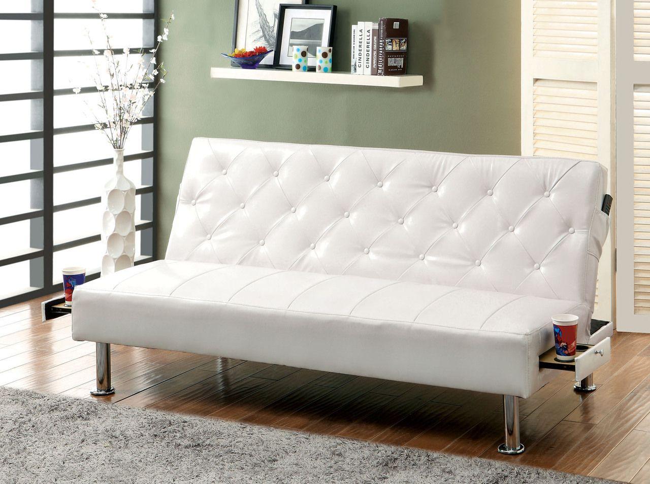 Desta White Leatherette Futon Sofa Bed Fun Futons Futon Sofa