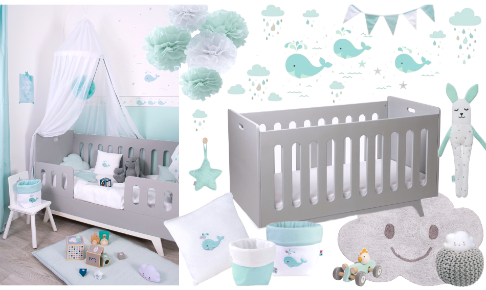 Babyzimmer in grau mint t nen bei fantasyroom online kaufen babyzimmer - Babyzimmer mint grau ...