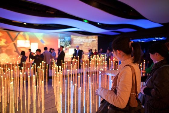 A field of motion sensitive rods provided the first opportunity for interaction inside the pavilion -