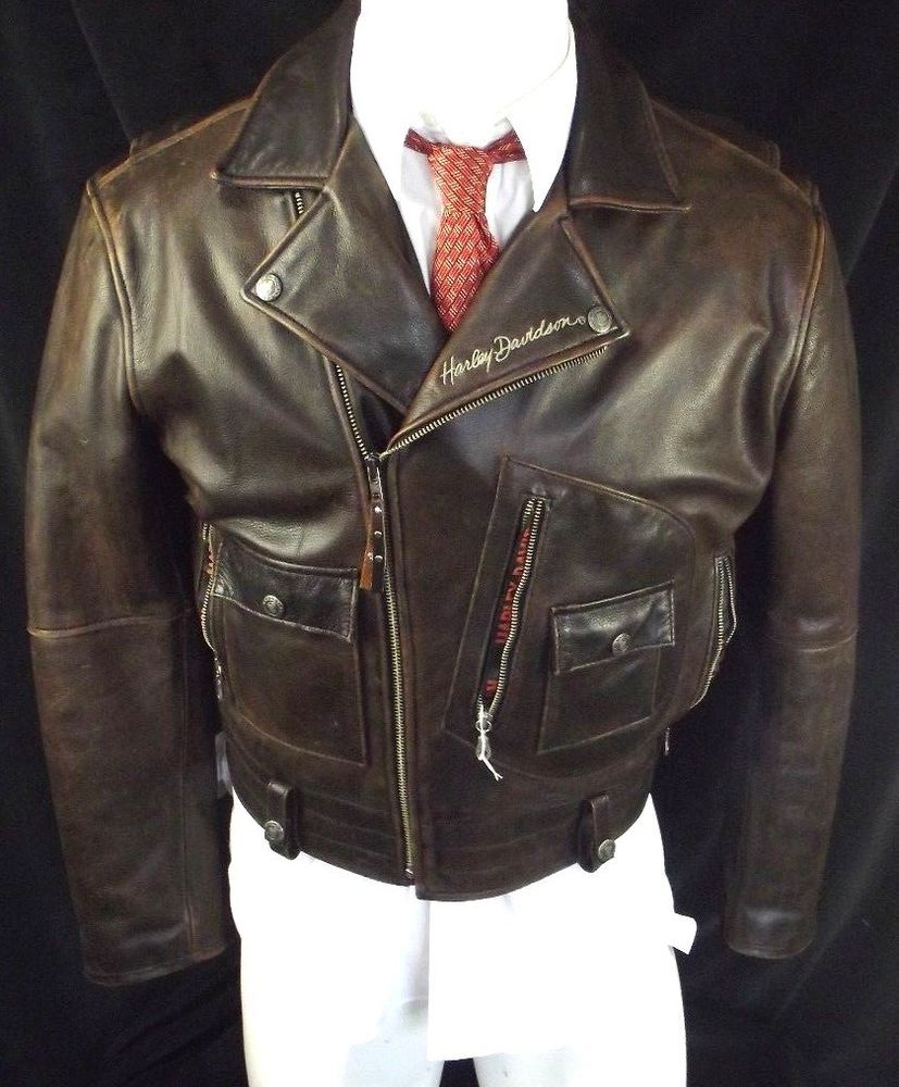 HarleyDavidson Brown Leather jacket aviator bomber cafe