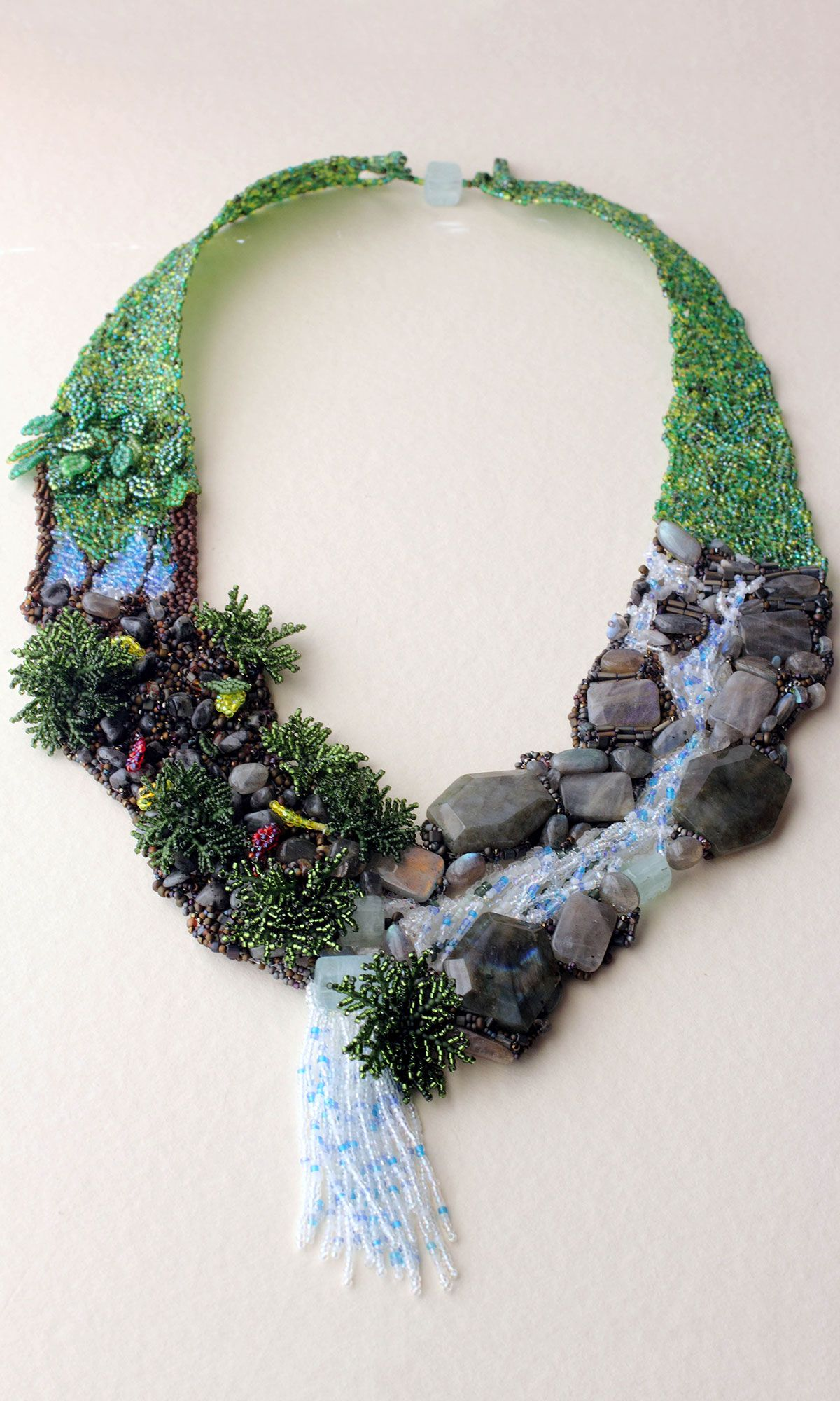 Jewelry Design - Bib-Style Necklace with Seed Beads and Gemstone Beads - Fire Mountain Gems and Beads