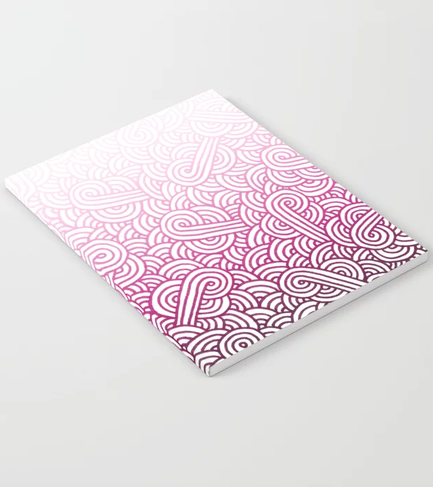 Gradient pink and white swirls doodles Notebook by @savousepate on Society6 #findyourthing #notebook #backtoschool #mangenta #hotpink #brightpink #candypink #pinkandwhite #whiteandpink #ombré #gradient #faded #dipdye #tiedye