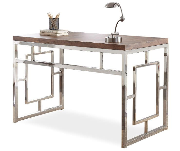 Alize Brown Chrome Geometric Desk At Big Lots Driftwood Desk Home Office Furniture Furniture