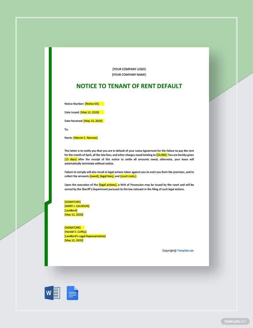 Notice To Tenant Of Rent Default Template Free Pdf Word Doc Google Docs Word Doc Templates Letter Templates