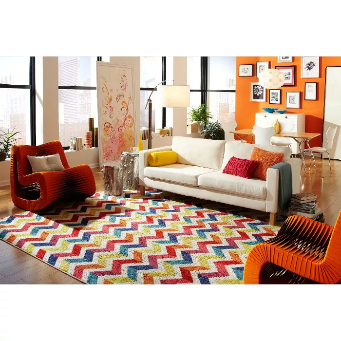 Home Mixed Chevrons Area Rug Mohawk In 2020 Vibrant Living Room Chevron Area Rugs Dorm Room Rugs