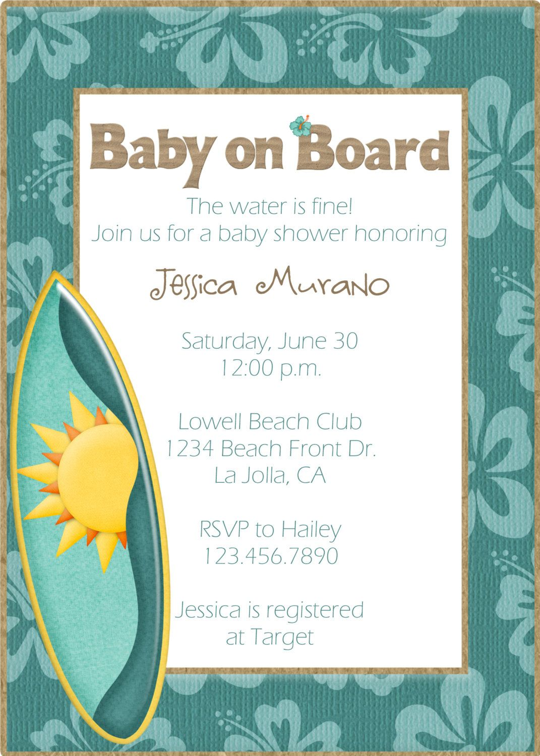 Baby On Board Shower Invitations